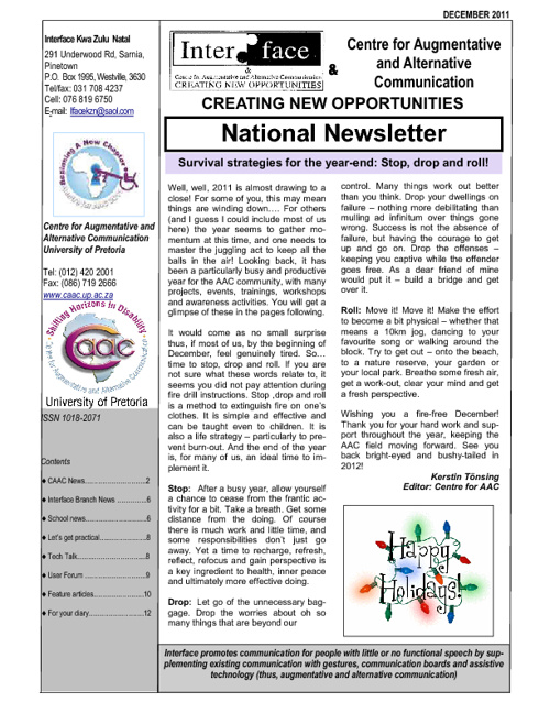 Interface CAAC newsletter Dec_ 2011