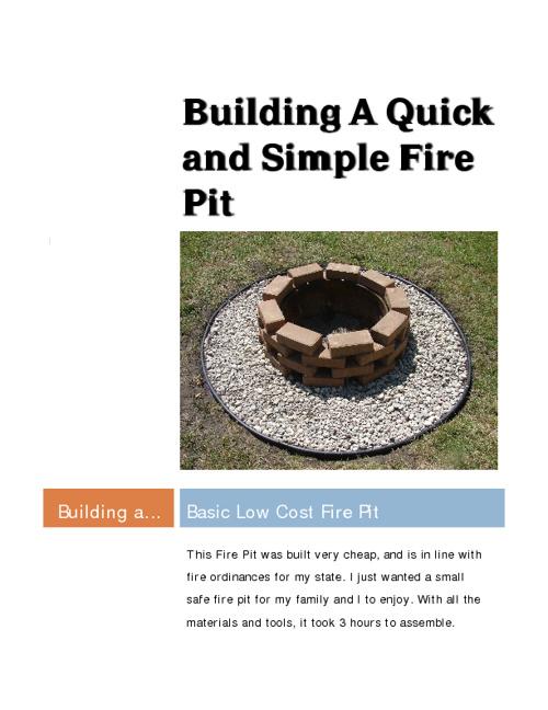 Building A Simple Fire Pit