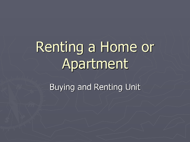 Renting a Home
