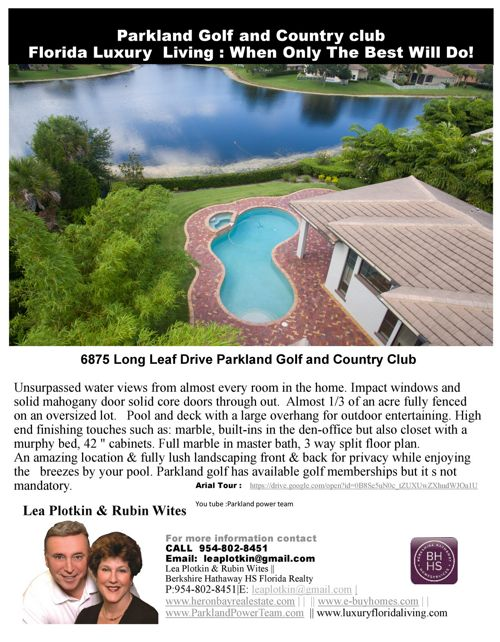 Home for Sale 6875 Long Leaf Parkland Golf and Country Club