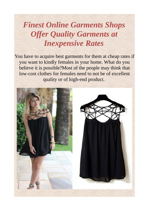 Finest Online Garments Shops Offer Quality Garments at Inexpensi