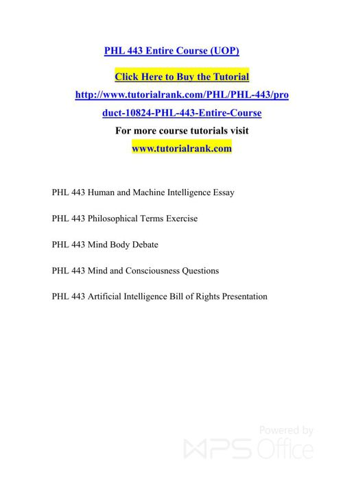 PHL 443 UOP Courses /TutorialRank