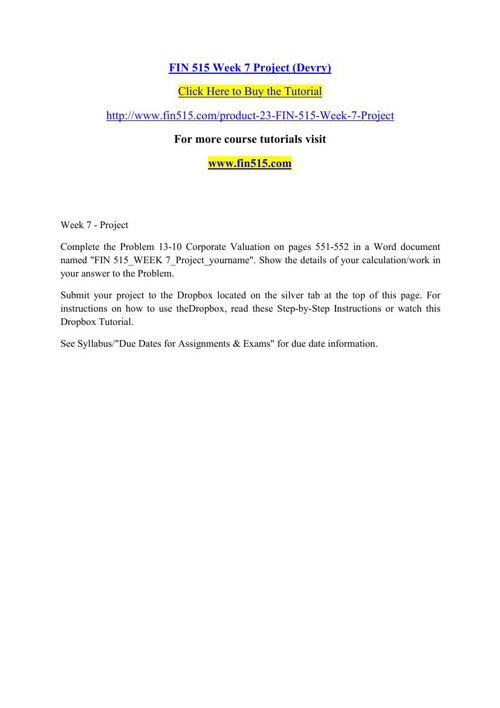 FIN 515 Week 7 Project (Devry)