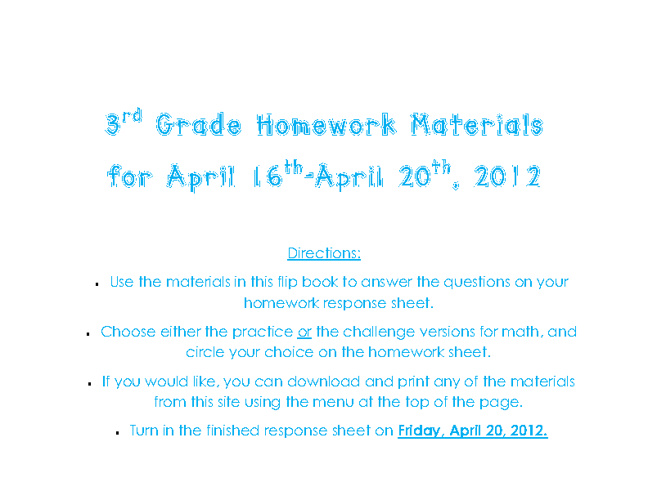 Homework materials for April 16th