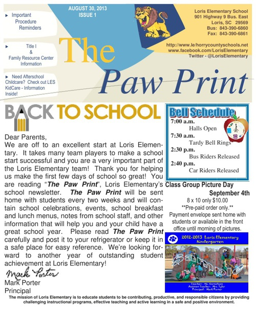 The Paw Print - Issue I August 30, 2013