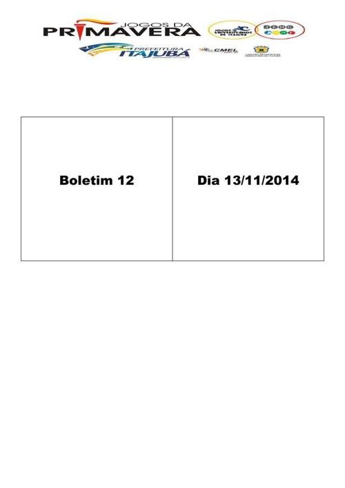 Boletim 12 Jogos de Primavera 2014