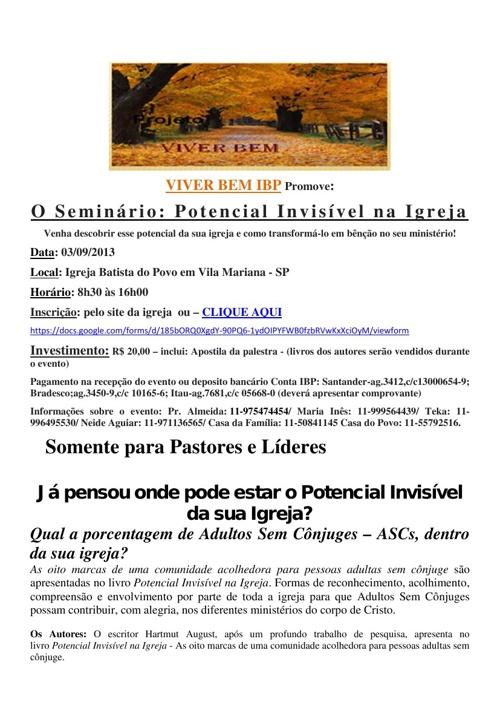 Seminário potencial invisivel- Pastores e Líderes em SP