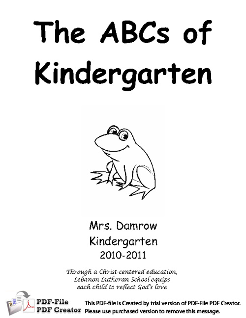 ABC's of Kindergarten Lebanon Lutheran