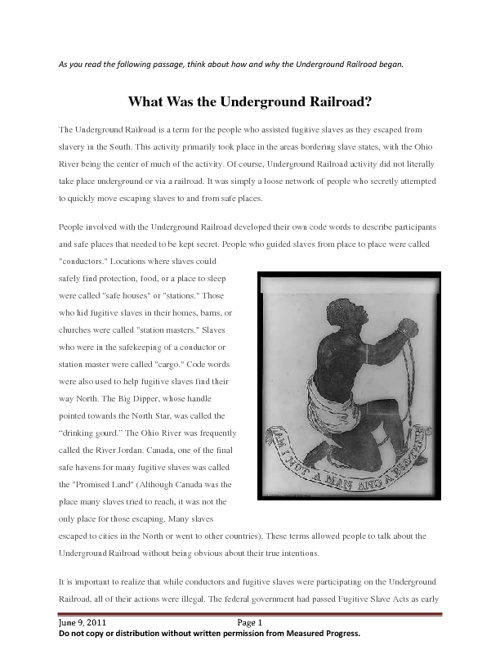 Underground Railroad Intro