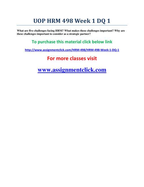 UOP HRM 498 Week 1 DQ 1