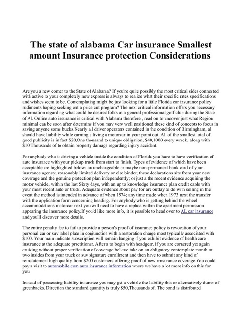 The state of alabama Car insurance Smallest amount Insurance pro