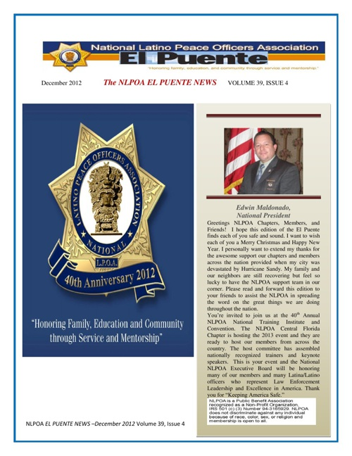 NLPOA EL Puente Newsletter December 2012