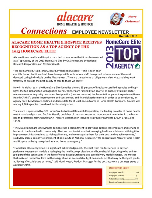 Alacare Connections Employee Newsletter Dec 2013