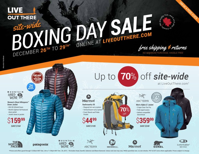 Site-wide Boxing Day Sale at LiveOutThere.com
