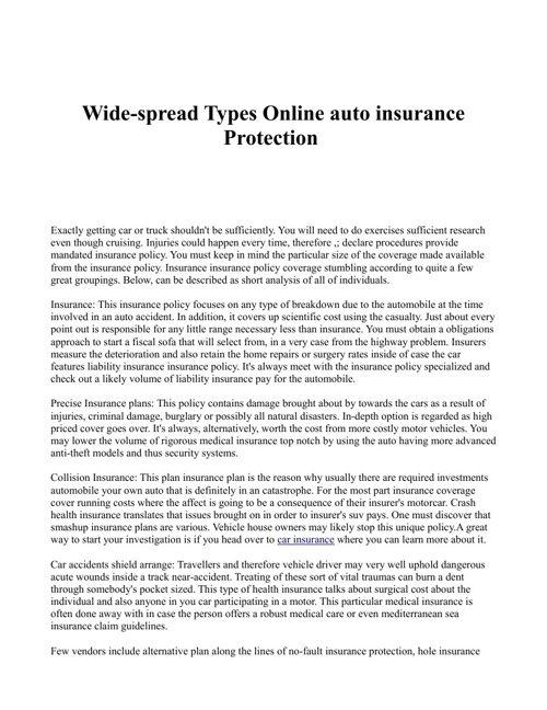 Wide-spread Types Online auto insurance Protection