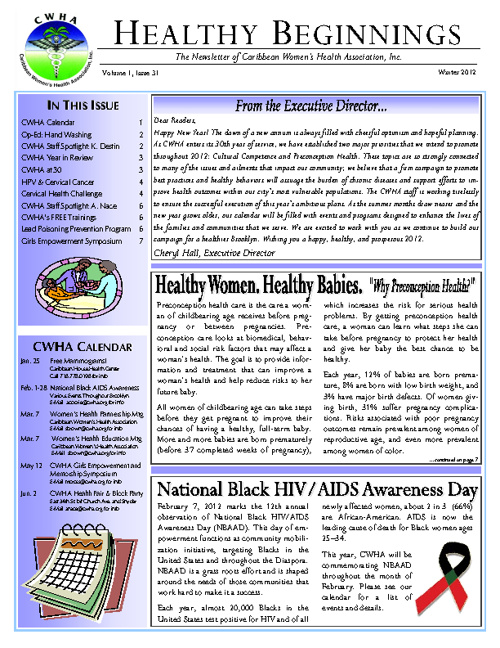CWHA Winter Newsletter 2012
