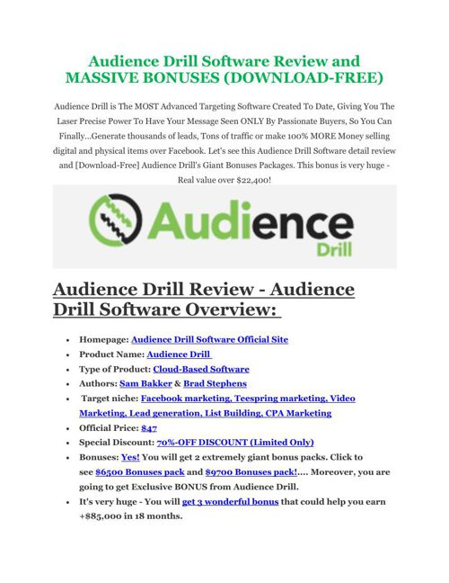 Audience Drill Review - $24,700 BONUS & DISCOUNT