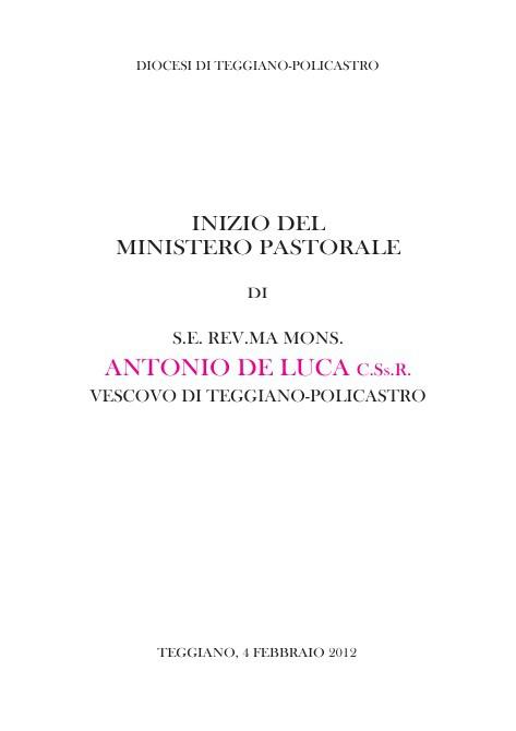 Inizio Ministero Pastorale di Mons. Antonio De Luca