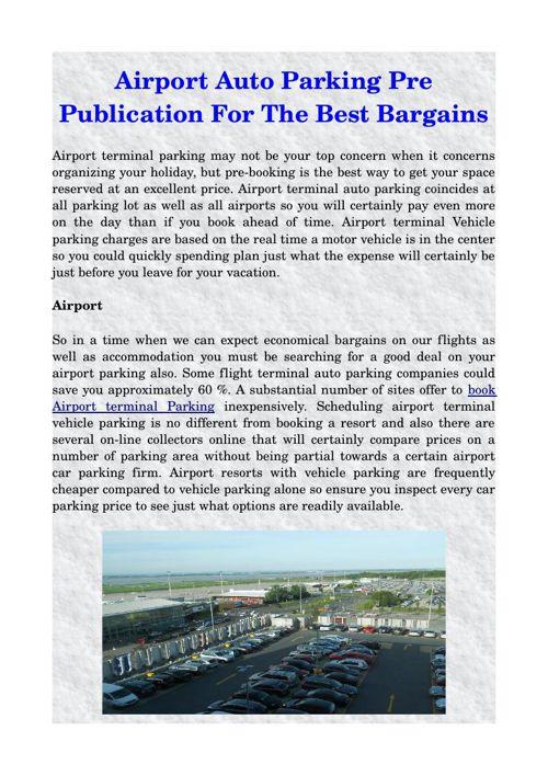 Airport Auto Parking Pre Publication For The Best Bargains
