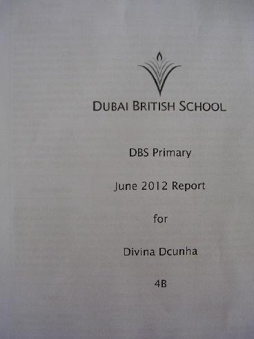Divina's Year 4 School Report - Sept 2011 - June 2012