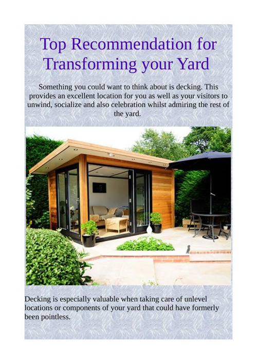 Top Recommendation for Transforming your Yard