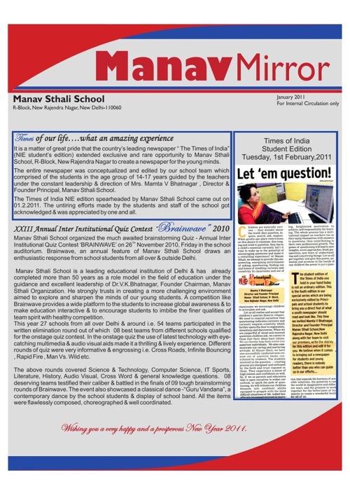 Manav Mirror - January 2011