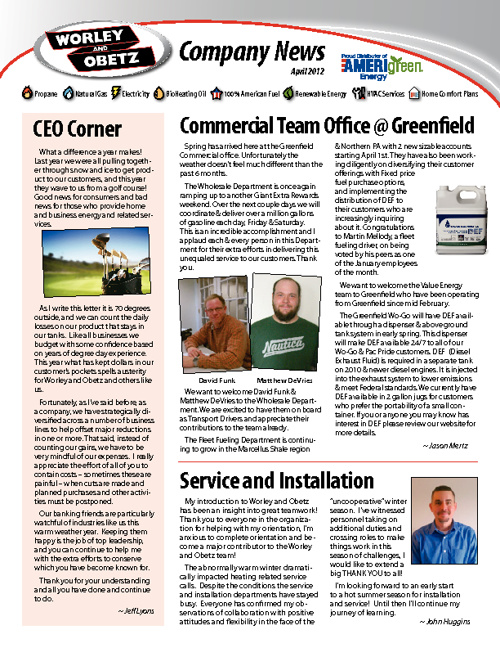 Worley & Obetz Company News - April 2012