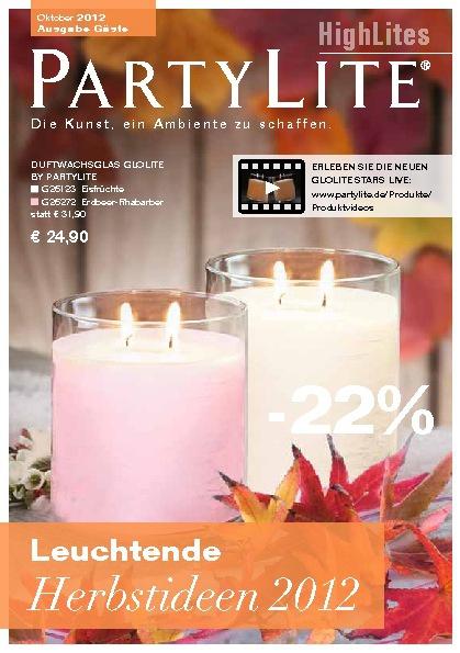 PartyLite oktober- en herfstaanbiedingen + kerstgeuren 2012