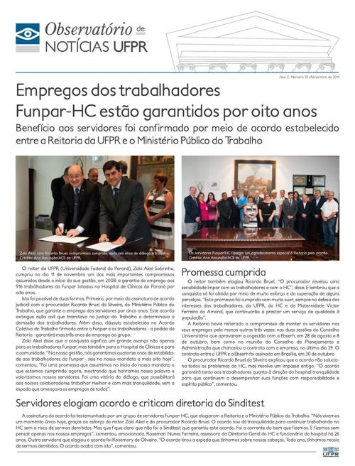 Observatório de Notícias UFPR - Número 5 - 2014
