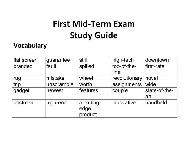 FIRST MID TERM EXAM