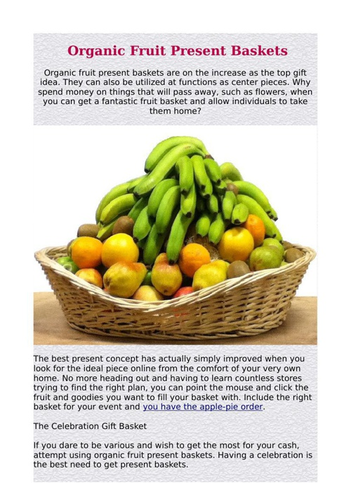 Organic Fruit Present Baskets
