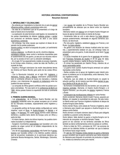 HISTORIA UNIVERSAL CONTEMPORÁNEA resumen general