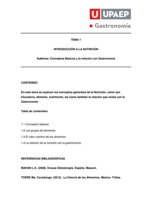 TEMA 1 Nutrición Primavera 2014