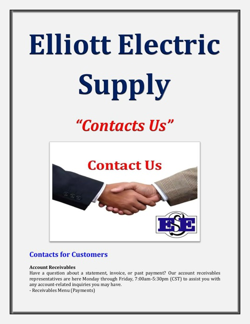 Elliott Electric Supply: Contacts Us