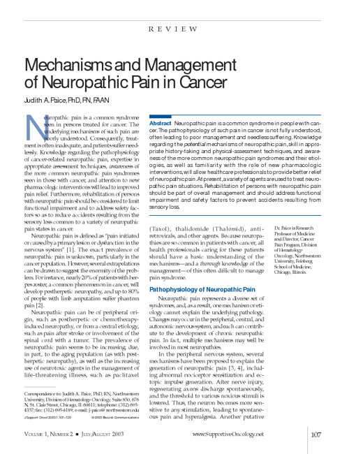 Mechanisms and Management  of Neuropathic Pain in Cancer