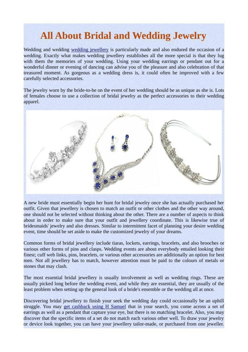 All About Bridal and Wedding Jewelry