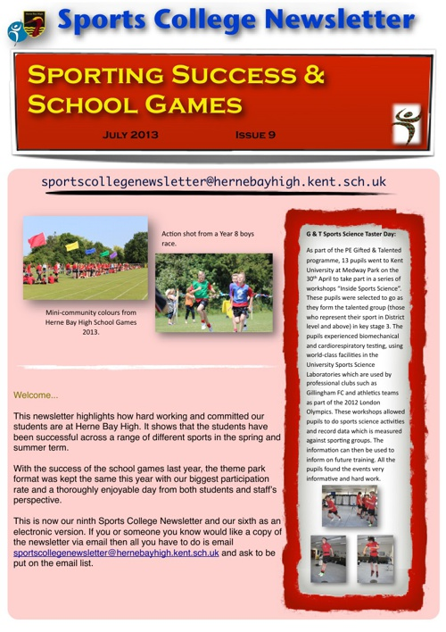 Sports College Newsletter 9