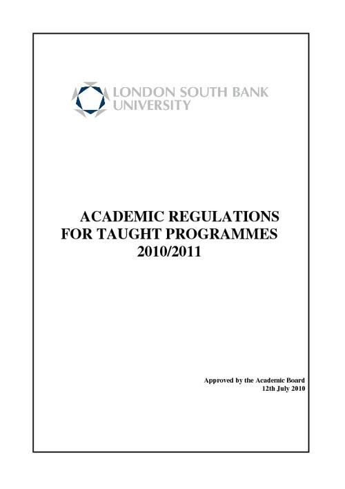 Academic Regulation 2010 - 2011