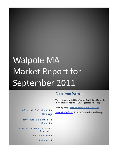 Walpole September Report