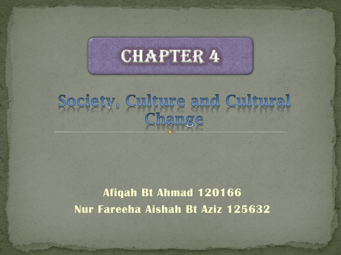 Society,Culture,and Cultural Change