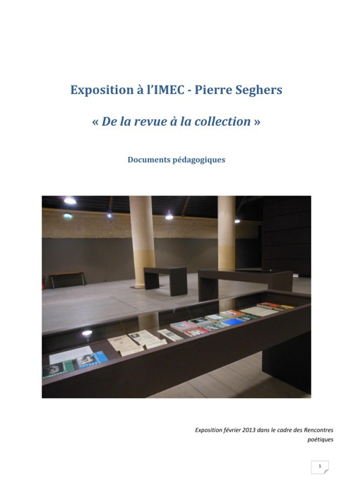 "Exposition ""De la revue à la collection"""