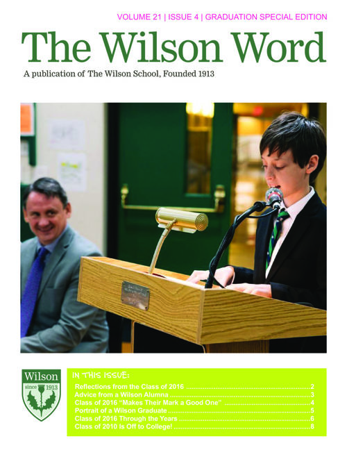 2015-2016 Vol. 4 Wilson Word Graduation Edition