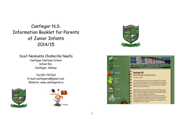 Castlegar NS New Entrants Booklet 2014 2015