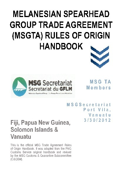 MSG Rules of Origin Handbook