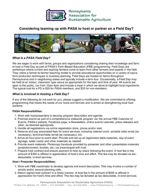 PASA & Field Day Host/Partner Roles
