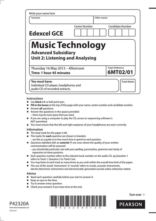 2013 6MT02 AS Listening Exam Paper