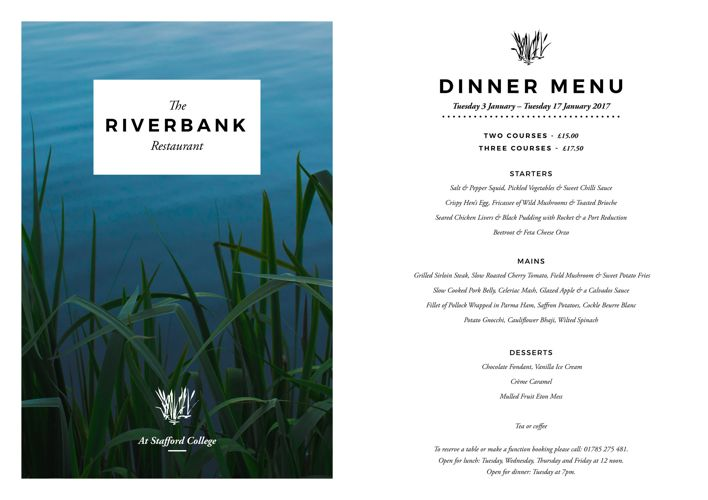 Riverbank Evening Menu January