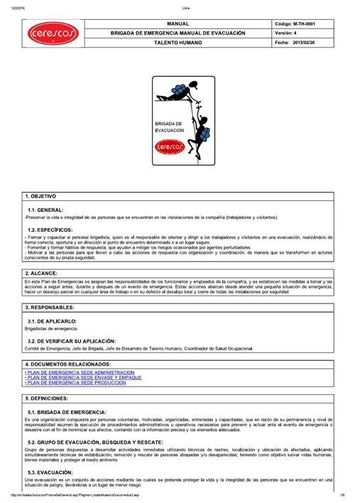 M-TH-0001  BRIGADA DE EMERGENCIA MANUAL DE EVACUACIÓN_V4