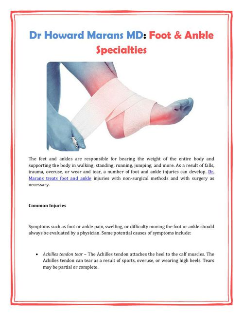 Dr Howard Marans MD: Foot & Ankle Specialties