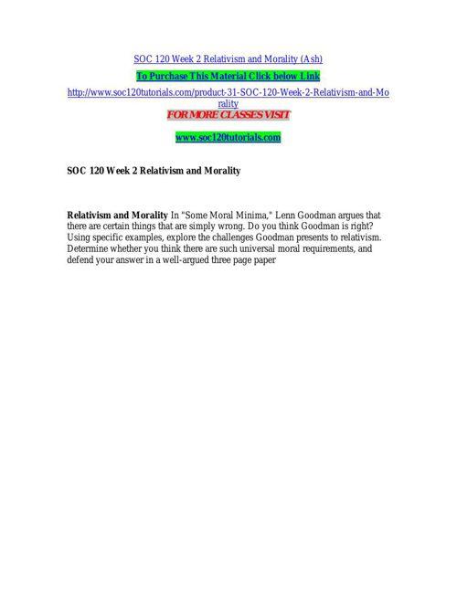 SOC 120 Week 2 Relativism and Morality (Ash)